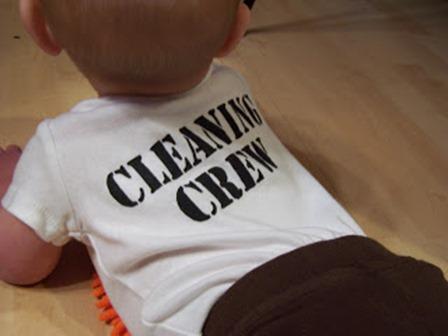 创意绿色生活的婴儿清洁队