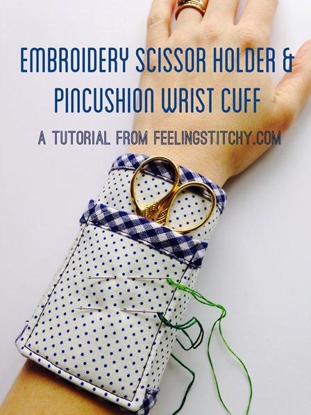 刺绣手感的刺绣剪刀和枕形手腕袖口