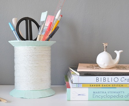 Giant Spool Desk Organizer from Design Sponge