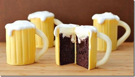 Beer Mug Cupcakes with Baileys Filling from Tablespoon