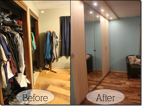 before and after - the closet from the doorway