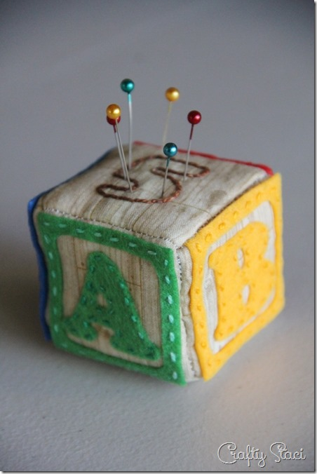 Crafty Staci's 5th Anniversary Giveaway - Alphabet Block Pincushion