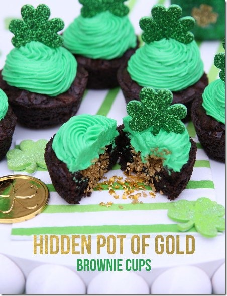 Hidden Pot of Gold Brownie Cups from Pizzazzerie