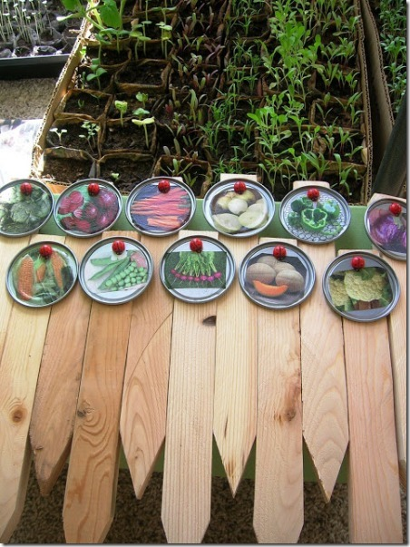 Juice Lid Garden Markers from Still Parenting