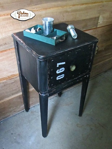 Industrial Faux Metal Nightstand from Patina Paradise