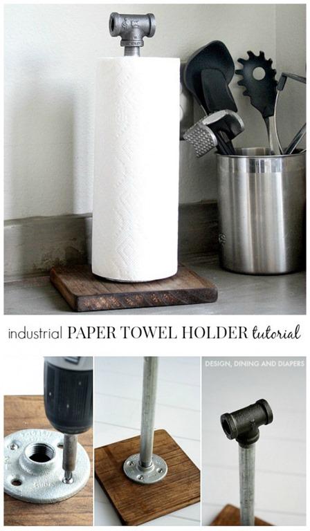 设计餐厅和尿布的工业纸巾架
