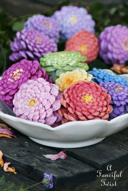 Pinecone Zinnias from A Fanciful Twist