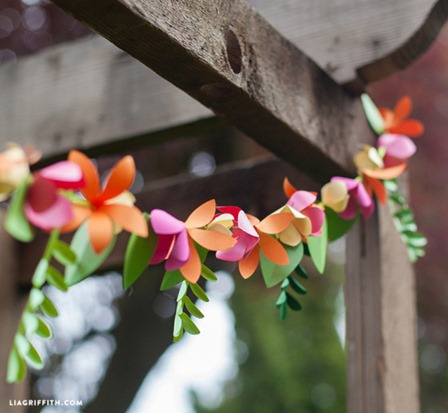 Spring Paper Flower Garland from Lia Griffith