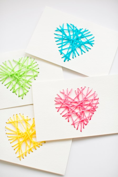 String Heart Yarn Cards from Hello Wonderful