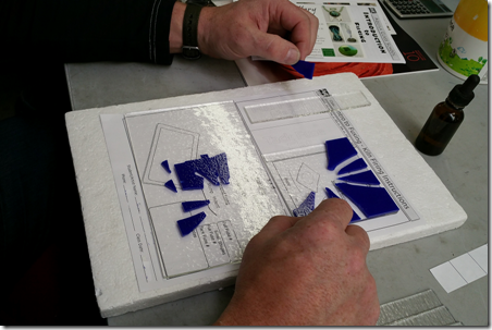 Beginning our glass fusing projects at Aquila Glass School