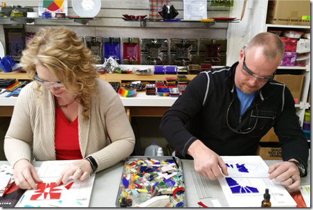 Joel and Staci making fused glass!