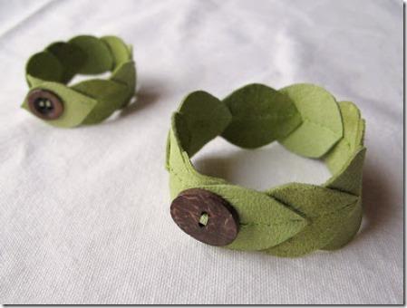 玛雅皮革制成的皮革叶子袖口