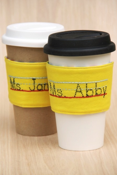 Pencil Coffee Cup Sleeves with Teacher's Name
