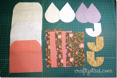 Pieces to make umbrella hot pad and raindrop coaster
