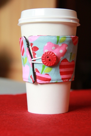Reversible Coffee Cup Sleeve Sewing Tutorial from Crafty Staci #coffeecupsleeve #coffeecozy #diygifts