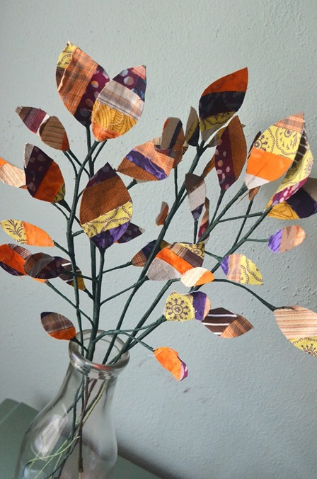 Scrap Fabric Leaves from Orange Bettie