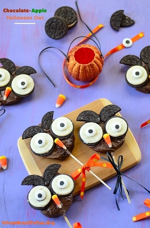 Chocolate Apple Halloween Owl from From Brazil to You