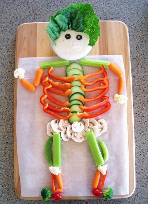 Colorful Vegetable Skeleton from The Kitchn