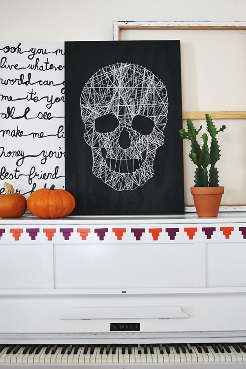 Skull String Art from A Beautiful Mess