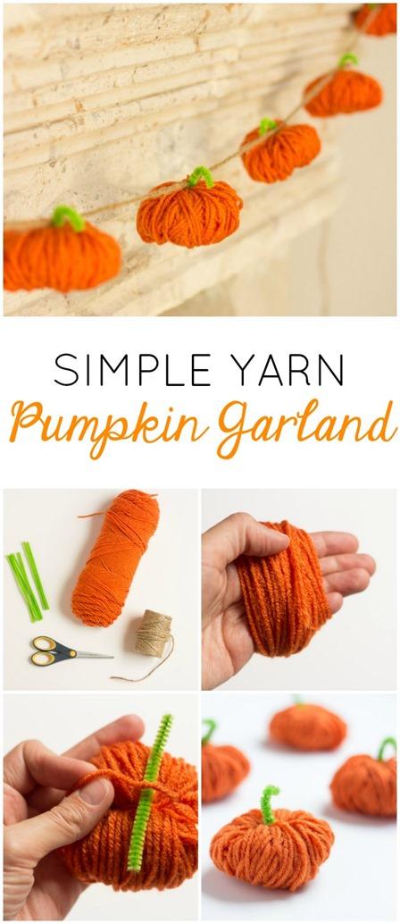 Yarn Pumpkin Garland from Design Improvised
