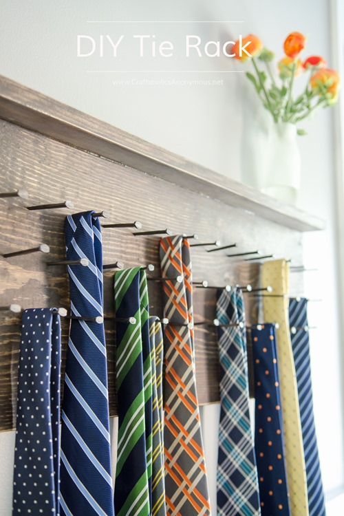 DIY Tie Rack from Craftaholics Anonymous