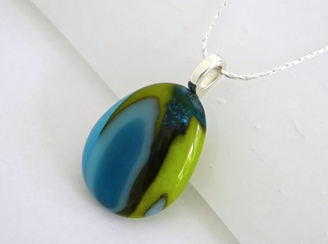 Layered Green and Blue Fused Glass Pendant from bprdesigns