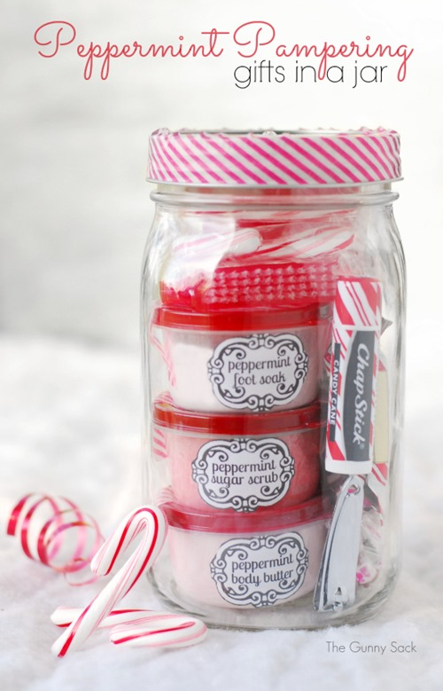 Peppermint Pampering Gifts in a Jar from The Gunny Sack