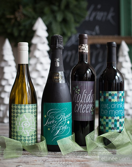 Printable Holiday Bottle Labels from The Elli Blog