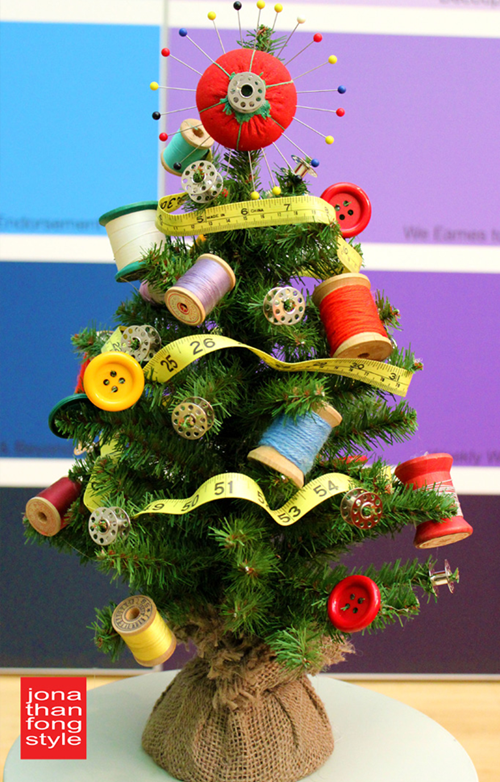 Sewing Themed Mini Christmas Tree from Craft Attitude
