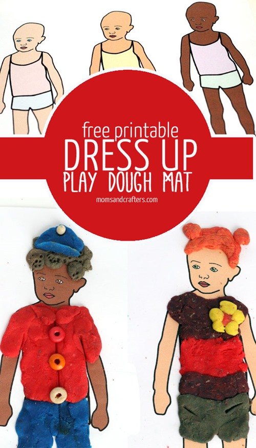 Dress Up Dolls Play Dough Mats from Moms and Crafters
