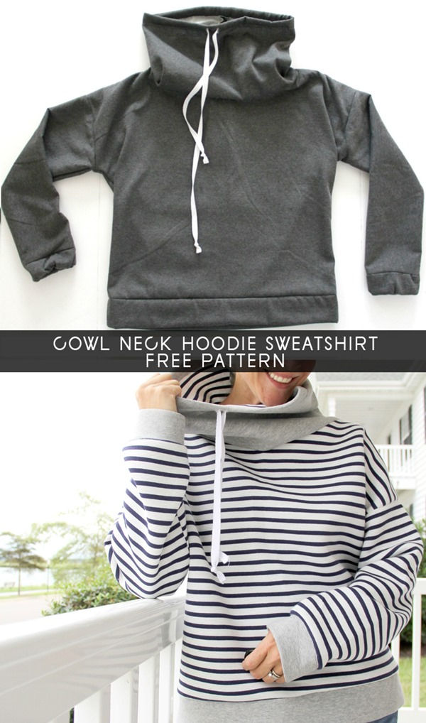Cowl Neck Sweatshirt Pattern from The Sewing Rabbit
