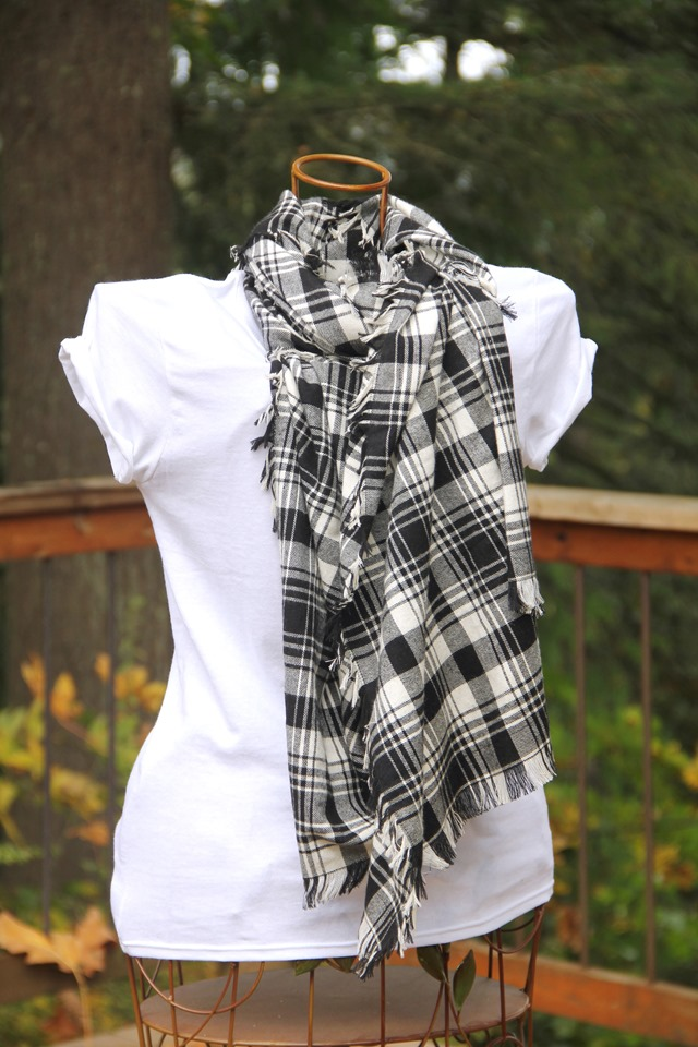 Fringed Blanket Scarf tied