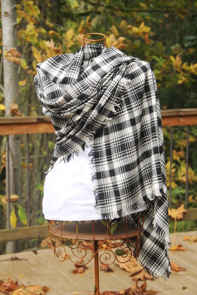 Fringed blanket scarf wrapped