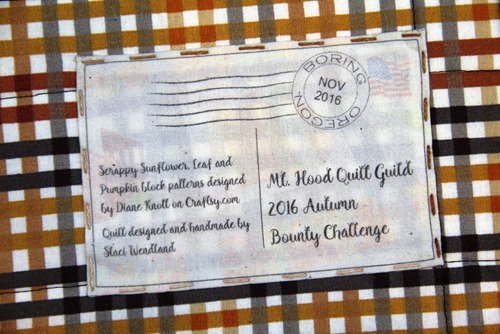 Autumn Bounty Challenge Quilt Label