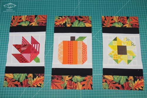 Blocks with top and bottom fabrics added