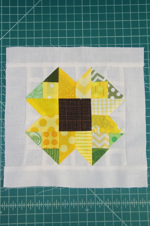 Scrappy Sunflower Quilt Block