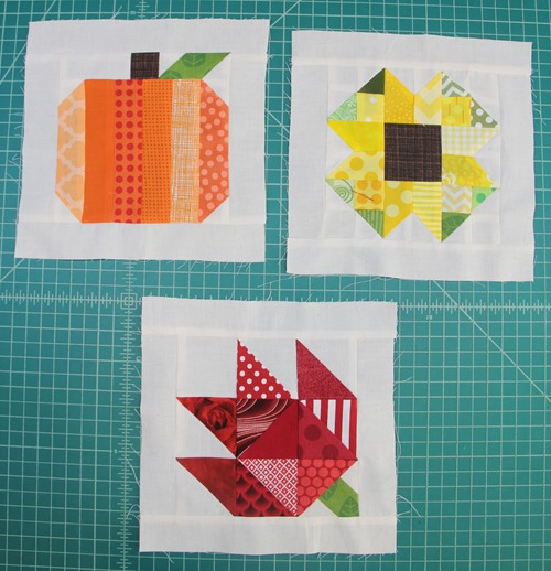 Three finished quilt blocks