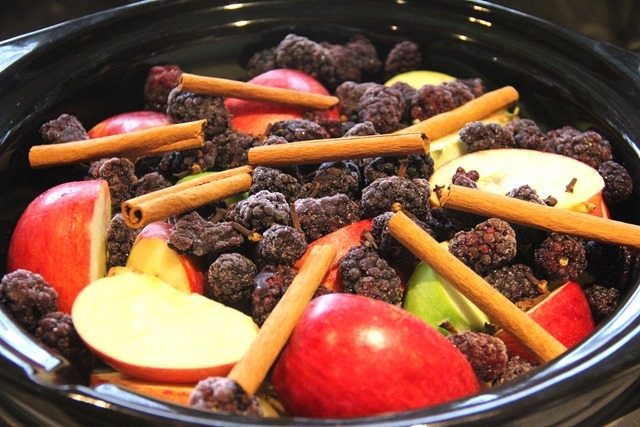 Cider ingredients in slow cooker