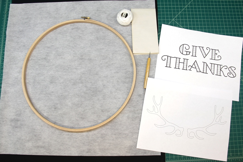 supplies for Give Thanks Hoop Art