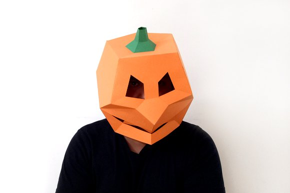 DIY Paper Pumpkin Mask from Paper Amaze at Creative Market