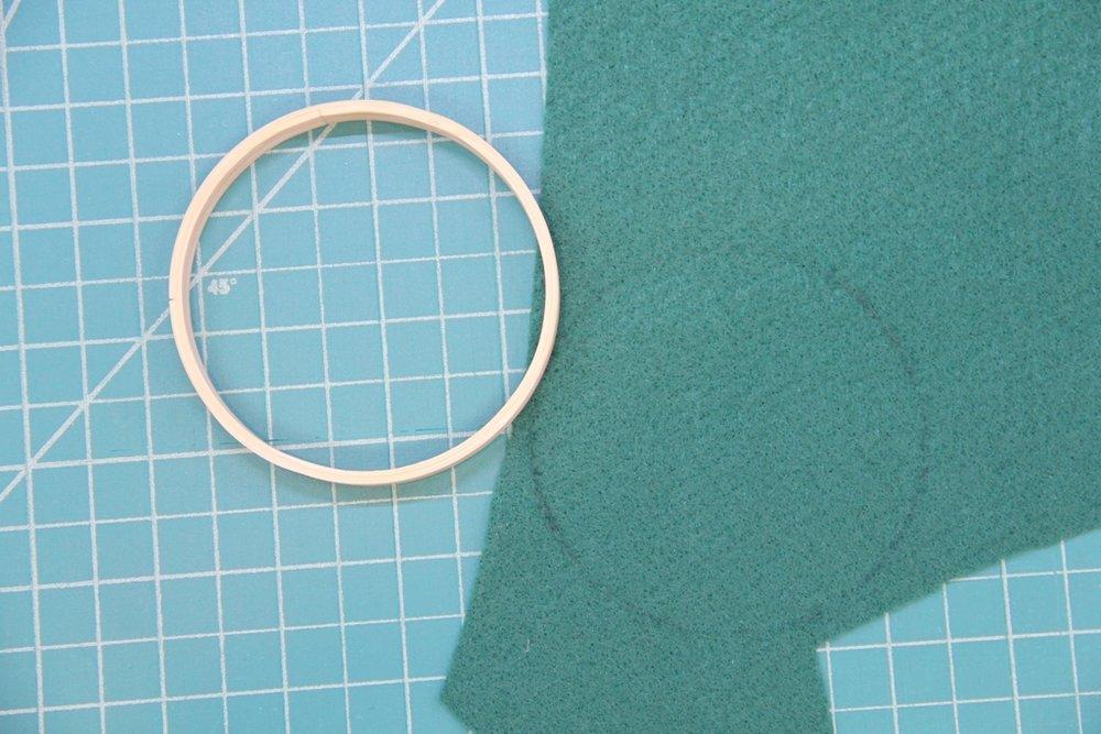 Trace inner hoop onto felt