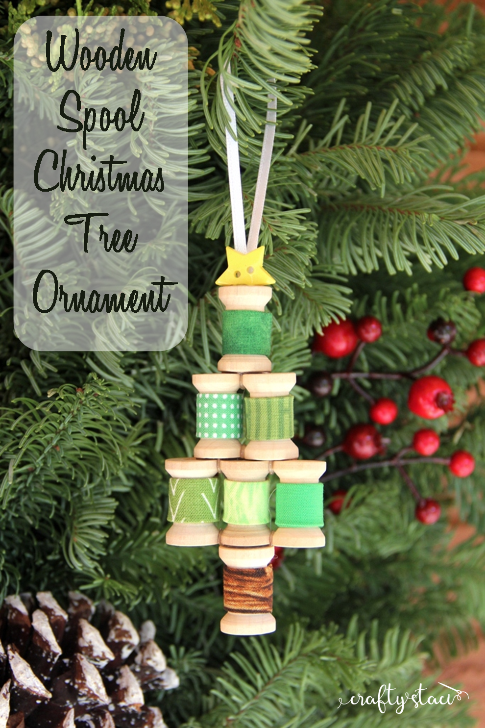 Wooden Spool Christmas Tree Ornament from Crafty Staci