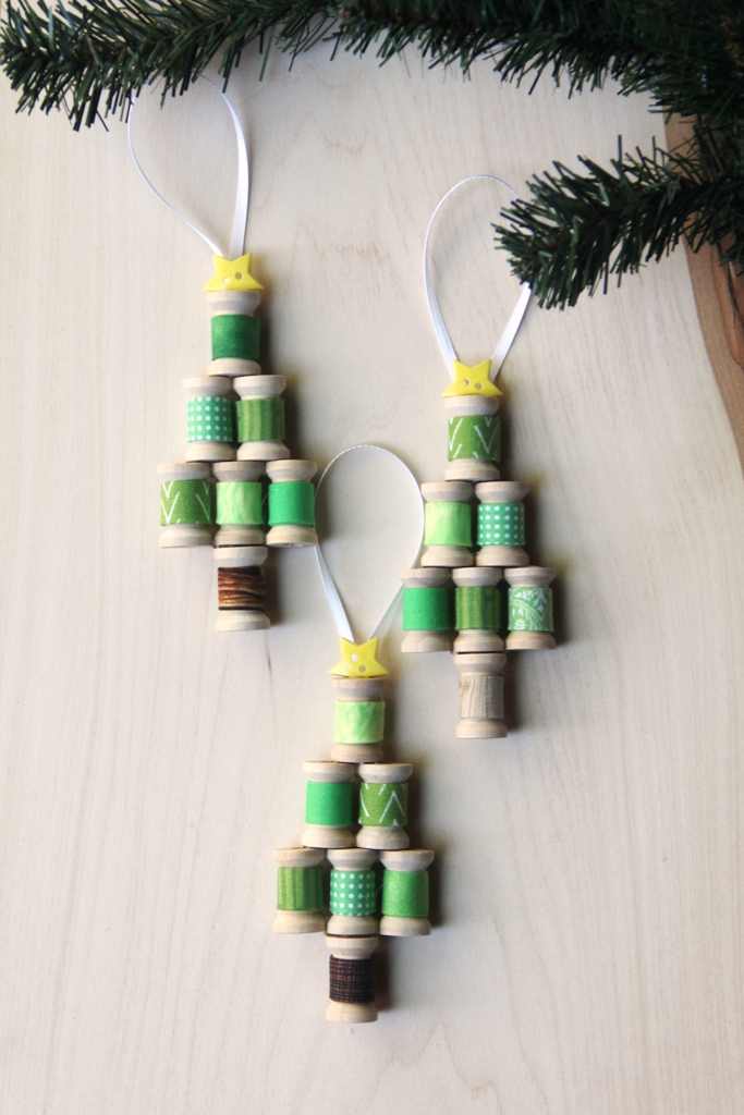 Wooden Spool Christmas Tree Ornaments