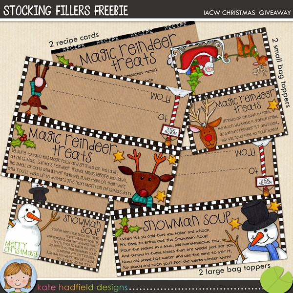 Stocking Stuffer Bag Toppers from Kate Hadfield Designs