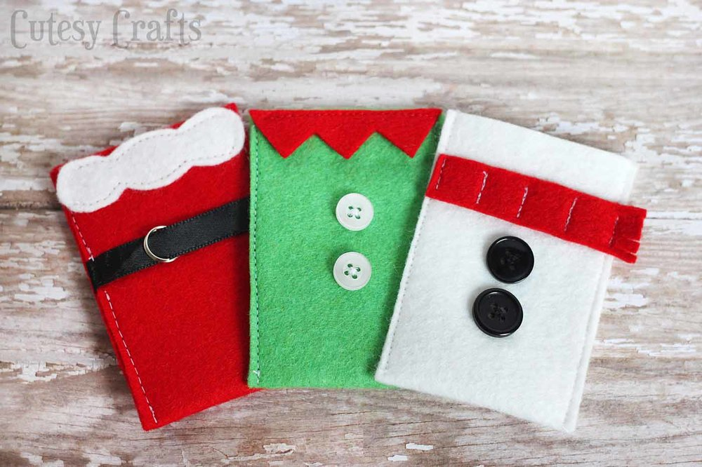 Felt Christmas Gift Card Holders from DIY Candy