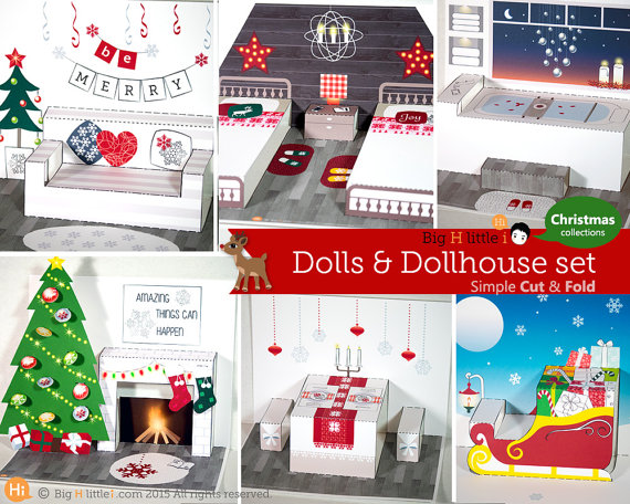 Christmas Printable Paper Dolls and Dollhouse Set from BigHlittlei