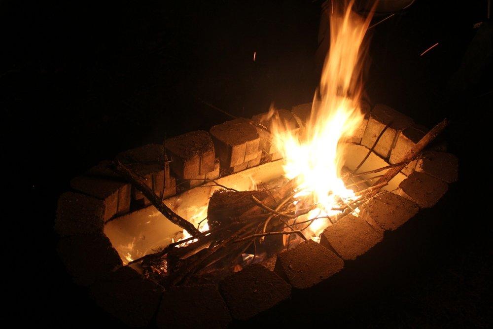 Fire in bathtub fire pit