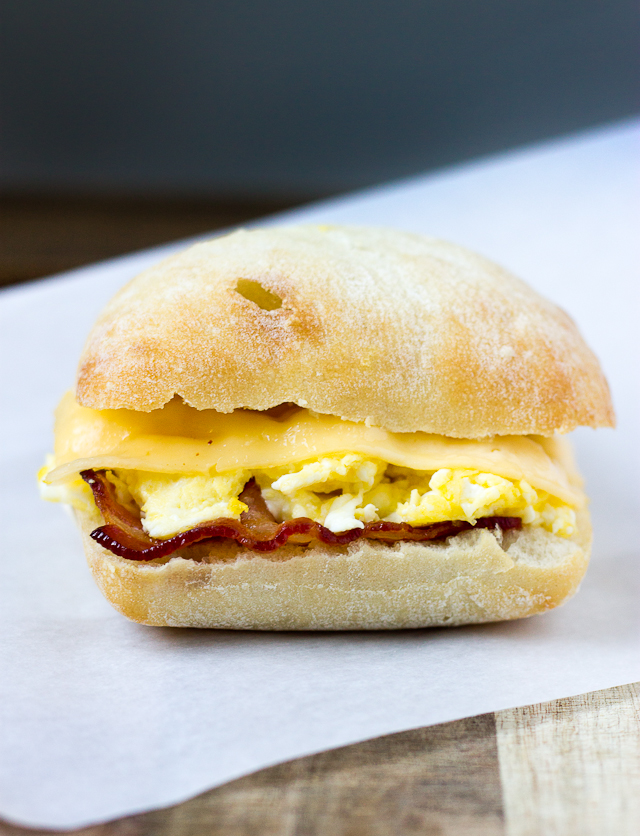 Bacon Egg and Gouda Breakfast Sandwich from Love and Zest