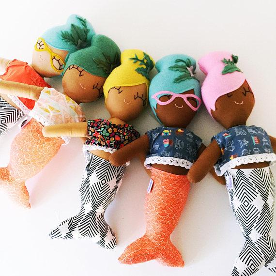 Maude the Mod Mermaid Cloth Doll from rileyconstruction