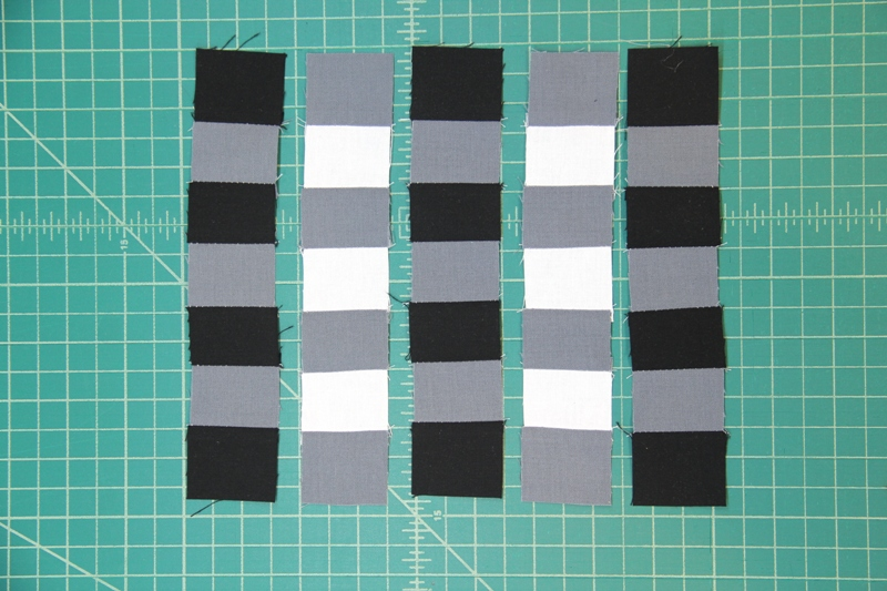 Stitch squares into rows